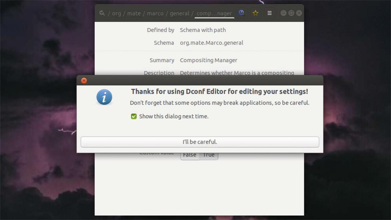 dconf-editor warning message
