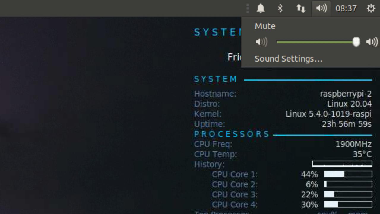 ubuntu mate sccessing sound settings